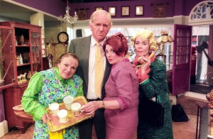 Victoria Woods Sketch Show Story, Julia Walters (Mrs Overall) Duncan Preston (Mr. Clifford) Victoria Wood (Bertha) Celia Imrie (Miss Babs), 2001, Copyright BBC