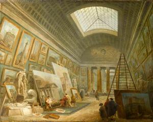 Hubert Robert (1733-1808). Painting Gallery Being Used as an Artist's Studio, 1789 Paris, Musée du Louvre. RF1938-69.