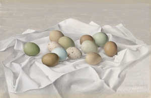 Eliot Hodgkin (1905-1987) Twelve Pheasant Eggs signed, inscribed and dated 'Twelve Pheasant Eggs/by Eliot Hodgkin/2 VII 59' (lower right) tempera on board 10½ x 16 in. (26.5 x 40.8 cm.) Estimate: £20,000 - 30,000 CHRISTIE'S IMAGES LTD. 2016