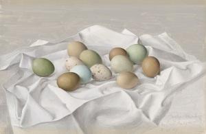 Eliot Hodgkin (1905-1987) Twelve Pheasant Eggs signed, inscribed and dated 'Twelve Pheasant Eggs/by Eliot Hodgkin/2 VII 59' (lower right) tempera on board 10½ x 16 in. (26.5 x 40.8 cm.) Estimate: £20,000 - 30,000 CHRISTIE'S IMAGES LTD. 2016