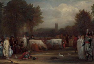 Benjamin West  Milkmaids in St. James's Park, Westminster Abbey Beyond (ca. 1801, oil on panel, Paul Mellon Fund) Courtesy of the Yale Center for British Art