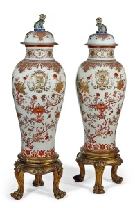 An important pair of Famille Rose, iron-red and gilt-decorated armorial vases and covers, China, Qing Dynasty, €100.000-200.000 © CHRISTIE'S IMAGES LIMITED 2016