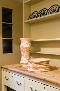 Martino Gamper's vases on the Soane's Museum kitchen dresser. Photo: Gareth Gardner