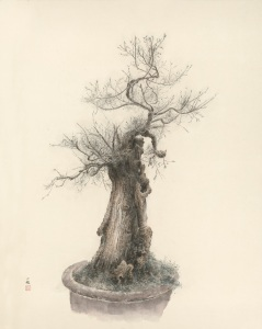 Bonsai I Ink and colour on paper Dimensions: 180cm by 138cm Signed: Zeng Xiaojun Artist's seal: Painted by Zeng Xiaojun Courtesy of Eskenazi