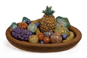 Exceptional Large Fruit Tray in Stoneware. Unique Piece. Jane Levy - Sevres Manufacture France, Sevres, dated 1939 H tray : 9 cm / 3.5 in. L tray : 69 cm / 27.2 in. D tray : 52 cm / 20.5 in. H fruits max : cm / in. Courtesy of DIDIER LUTTENBACHER , Atelier DL