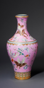 Porcelain vase decorated with yangcai overglaze enamels China, Jiangxi province, Jingdezhen kilns, Qing dynasty, Qianlong mark and period (1736-1795) Height 47 cm Private collection