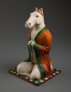 Zodiac figure of the horse China, Henan province, Gongxian region, Tang dynasty, 7th or 8th century Earthenware with sancai glazes, height 22.2 cm Private collection