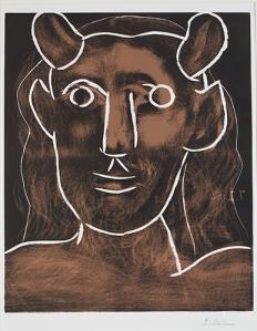 Pablo Picasso Kopf des Fauns, 07.02.1962 Head of the Faun Farblinolschnitt, Auflage 19/50 Colour Linocut, Edition 19/50 64 x 53 cm Stiftung Museum Kunstpalast, Düsseldorf © Succession Picasso, Foto: Stiftung Museum Kunstpalast, Düsseldorf, Horst Kolberg, ARTOTHEK