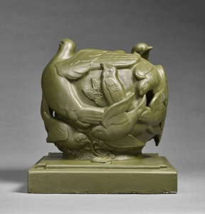 James Woodford (1893–1976) Dawn Chorus, 1946-7 Unframed (ref: 7581) Original plaster maquette, with a dark green finish, signed and dated 1946-7, and (titled on a label) 17 x 16 ins. (43 x 40.5 cm)