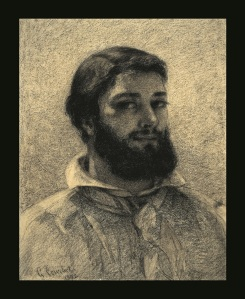 Gustave Courbet, Self Portrait , 570.00 x 450.00 mm, 1852, Black chalk and charcoal on paper © The Trustees of the British Museum