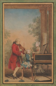 Leopold Mozart and his two children, Wolfgang Amadeus and Marie Anne, 1777, 320 x 200 mm. Watercolour and bodycolour, on contemporary gold, black and green wash mount © The Trustees of the British Museum