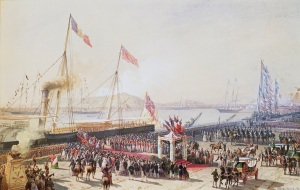 Antoine Léon Morel-Fatio (1810-71) Royal visit to Napoleon III: Queen Victoria landing at Boulogne, 18 August 1855 Watercolour © Royal Collection Trust 2016