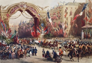 Eugène-Charles-François Guérard (1821-66) Royal visit to Napoleon III: Queen Victoria's entry into Paris, 18 August 1855 Watercolour © Royal Collection Trust 2016