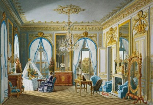 Jean-Baptiste-Fortuné De Fournier (1798-1864) Royal visit to Napoleon III: Queen Victoria's dressing-room at St Cloud Watercolour © Royal Collection Trust 2016