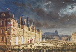 Max Berthelin (1811-77) Royal visit to Napoleon III: illuminations at the Hôtel de Ville, 23 August 1855 Watercolour © Royal Collection Trust 2016