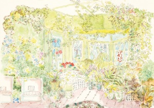 The and Winter Garden at Reddish House, painted left-handed by Cecil after his stroke, 1979 photograph by James McMillan, (copyright for CB artwork to National Portrait Gallery, London)