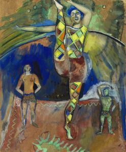 Marc Chagall (1887-1985) Les trois acrobates c.1913-14 gouache and watercolour on paper 39.4 x 31.8 cm (15½ x 12½ in.) signed 'Chagall' (lower right) Courtesy of Alon Zakaim Fine Art