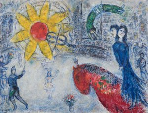 Marc Chagall (1887-1985) Soleil au cheval rouge 1977 oil on canvas 88.9 x 116.2 cm (35 x 45¾ in.) signed and dated 'Marc Chagall 1977' (lower left); signed 'Marc Chagall' (on the verso) Courtesy of Alon Zakaim Fine Art