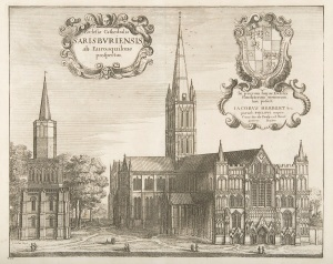 Salisbury Cathedral from the West, 1671 Wesceslaus Hollar © The Salisbury Museum