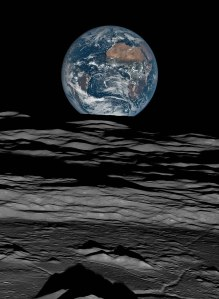 Earth over the Lunar Horizon, Lunar Reconnaissance Orbiter, 12 October, 2015, 2016 Digital C-print. 98 x 72 in / 249 x 183 cm (c) NASA/GSFC/LROC/Michael Benson, Kinetikon Pictures. Courtesy of Flowers Gallery.