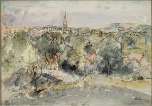 The City & Cathedral of Salisbury from Harnham Hill, 1955 Lord Methuen © The Salisbury Museum