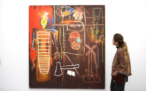 Jean-Michel Basquiat, Air Power, 1984 (£2.5-3.5million) (Photo by Tim P. Whitby/Tim Whitby/ Getty Images for Sotheby's)
