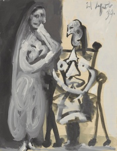 Picasso Femme Debout et Femme Assise 1939 Gouache and brush and black in on lined paper Courtesy Omer Tiroche