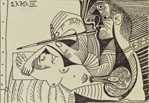 Picasso Le peintre et son modèle IV 1970 Ink on cardboard Courtesy Omer Tiroche