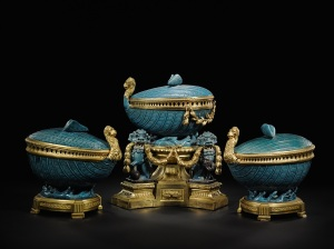 A gilt-bronze mounted Chinese bleu céleste porcelain garniture composed of three pots-pourris, the porcelain Kangxi (1662-1722), the gilt-bronze Louis XV, circa 1765 -1770 Estimate: 1.000.000 – 2.000.000 € Photo credit: Sotheby's / Art digital studio
