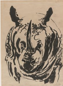 Rosie, the stuffed rhinoceros in Ipswich Museum, 1963. Ink 48.3 x 34.9 cm, Maggi Hambling © The Trustees of the British Museum