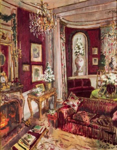 The drawing room at Reddish House, painted by Cecil Beaton, Christmas 1955 photograph by James McMillan, collection of Stiles Tuttle Colwill