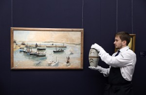 Winifred Nicholson, St Ives Harbour (£50,000-70,000) + Bernard Leach, Vase with 'Leaping Fish' Design (£5,000-7,000) (Photo by Tim P. Whitby/Tim Whitby/ Getty Images for Sotheby's)
