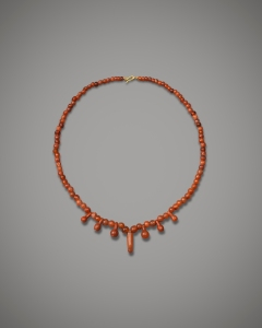 Carnelian and red jasper necklace New Kingdom. 18th Dynasty, c.1400 BC Length: 43 cm