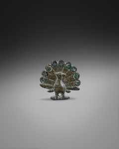 Romano-British bronze peacock brooch c. 2nd-3rd century AD Dimensions: 2.6 x 2.6 cm