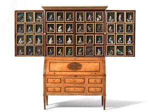 Collector's Cabinet by Theodor Commer (1773-1853) with 48 Wax Reliefs by Caspar Bernhard Hardy (1726-1819) for Canon Johann Wilhelm Neel (1744-1819) Cologne, ca 1795 Cherry wood, brass marquetery, wax reliefs Height 225 cm, width 145 cm, depth 62 cm Photo credit: Kunstkammer Georg Laue, Munich