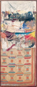 Robert Rauschenberg Bed 1955 Combine painting: oil, pencil, toothpaste, and red fingernail polish on pillow, quilt (previously owned by the artist Dorothea Rockburne), and bedsheet mounted on wood supports 191.1 x 80 x 20.3 cm The Museum of Modern Art, New York Gift of Leo Castelli in honour of Aldred H. Barr, Jr. © Robert Rauschenberg Foundation, New York Image: The Museum of Modern Art, New York/Scala, F