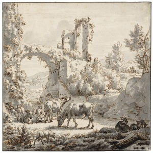 Adriaen van de Velde, Herdsman and herdswoman with livestock by a stream, Pen in brown and black grey wash, 17.7 x 17.7 cm, Teylers Museum, Haarlem, The Netherlands