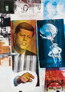 Robert Rauschenberg Retroactive II 1964 Oil and silk-screen ink print on canvas 213.4 x 152.4 cm Museum of Contemporary Art Chicago. Partial gift of Stefan T. Edlis and H. Gael Neeson © Robert Rauschenberg Foundation, New York. Photo: Nathan Keay © MCA Chicago