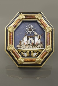 Trapani (Sicily), Early 18th Century Nativity Ivory, Coral, Tortoise, Lapis, Bronze 35 x 30 cm