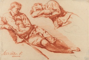 Adriaen van de Velde, Two studies of a reclining shepherd, 1666-1671, red chalk over a sketch in black chalk, Rijksmuseum, Amsterdam. Purchased with the support of the Vereniging Rembrandt