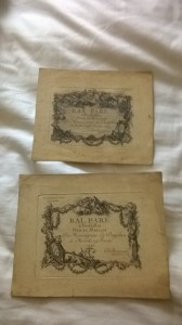 Invitations to Balls celebrating the two marriages of Louis XV's son, Louis who died in 1765. Louis XVI was Louis XV's grandson.