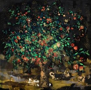 Albero della conoscenza del bene e del male, 160x160 cm, mixed media on canvas, 2016