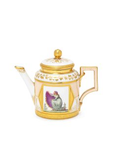 Berlin service: Teapot depicting Emma Hamilton ® National Maritime Museum, London. From the Clive Richards Collection
