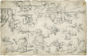 FLEMISH SCHOOL A Study of Monsters and Grotesques (267 x 416 mm.) Belgium, Antwerp (?), c. 1625-1650