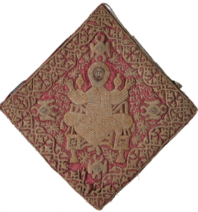 """An early 1800's Epigonation (in Greek meaning """"over the knee"""") vestment, worked in silver gilt on a red velvet ground. Marilyn Garrow"""