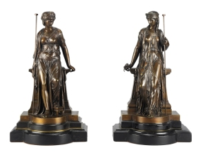 Temple Guardians, signed E Bouret bronze and ebonised wood, 39cm high, dated 1871 from Hickmet Fine Arts