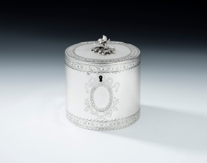 "A rare George III silver drum tea caddy by Andrew Fogelberg, made in London in 1773, 4.5"" x 4"" diameter (base), 13oz, from Mary Cooke Antiques"