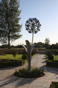 Allium flower hand-forged galvanised steel with blown glass, 2.5m or 3.2m, from QEST scholar Jenny Pickford,