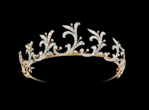 The Harcourt Tiara, 18ct yellow gold and platinum tiara entirely set with fine white diamonds, c1900, from The Gilded Lily