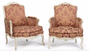 Pair of Louis XV Painted Bergere Armchairs - Adam Calvert Bentley